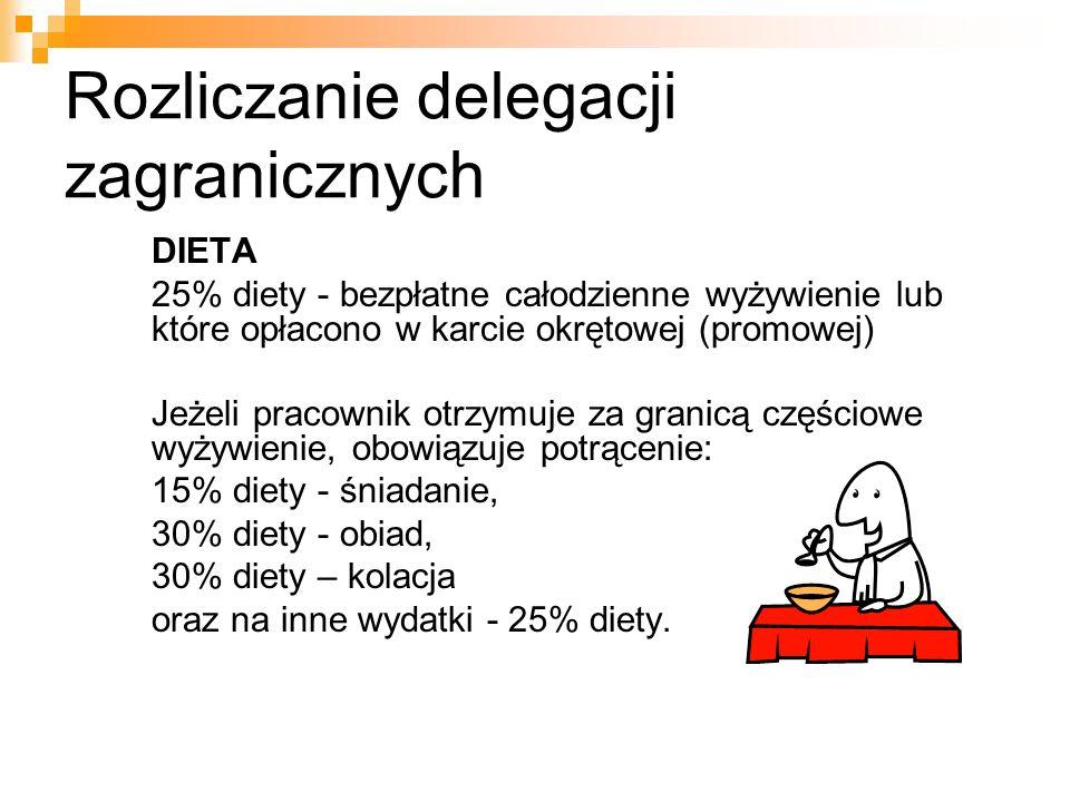 Rozliczanie delegacji zagranicznych DIETA 25% diety - bezpłatne całodzienne wyżywienie lub które opłacono w karcie okrętowej (promowej) Jeżeli pracownik otrzymuje za granicą częściowe wyżywienie, obowiązuje potrącenie: 15% diety - śniadanie, 30% diety - obiad, 30% diety – kolacja oraz na inne wydatki - 25% diety.