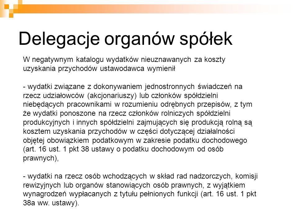 Delegacje organów spółek W negatywnym katalogu wydatków nieuznawanych za koszty uzyskania przychodów ustawodawca wymienił - wydatki związane z dokonyw
