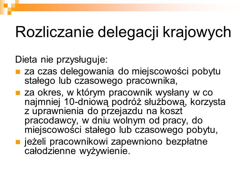 Rozliczanie delegacji zagranicznych NOCLEGI Limity noclegowe określa Rozporządzenia MPiPS z 19.12.2002.