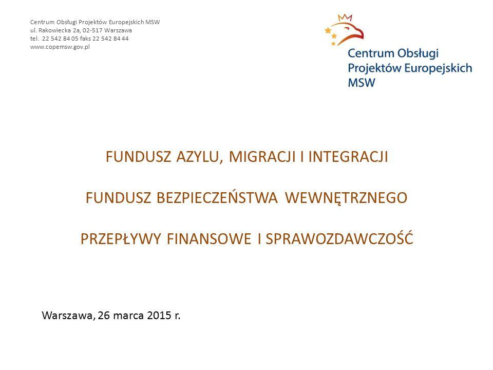 FUNDUSZ AZYLU, MIGRACJI I INTEGRACJI FUNDUSZ BEZPIECZEŃSTWA WEWNĘTRZNEGO PRZEPŁYWY FINANSOWE I SPRAWOZDAWCZOŚĆ Centrum Obsługi Projektów Europejskich MSW ul.