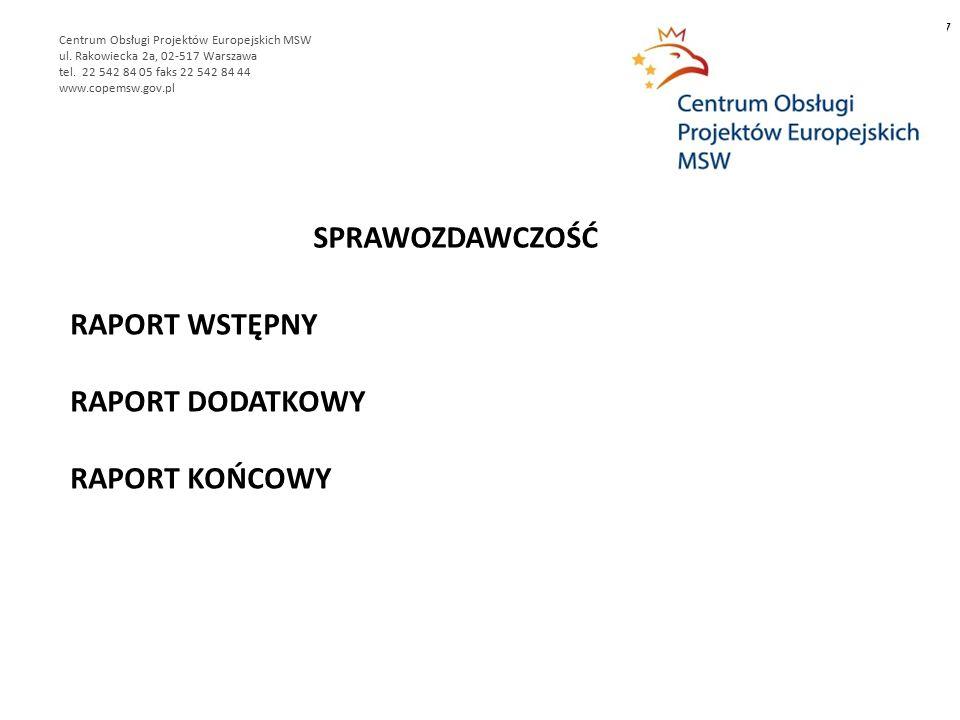 RAPORT WSTĘPNY RAPORT DODATKOWY RAPORT KOŃCOWY 7 Centrum Obsługi Projektów Europejskich MSW ul.