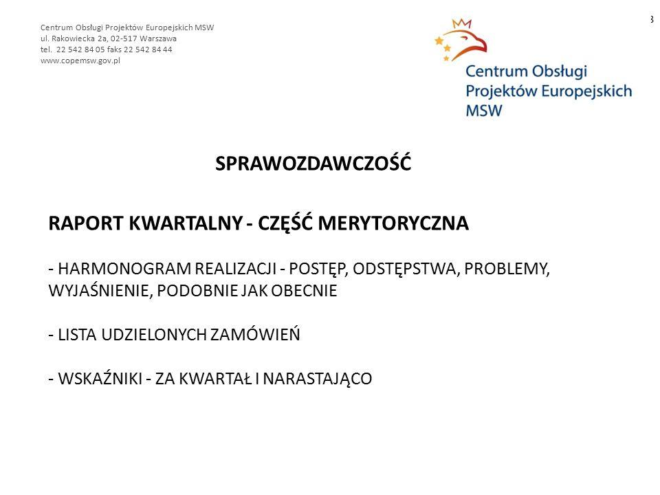 RAPORT KWARTALNY - CZĘŚĆ MERYTORYCZNA - HARMONOGRAM REALIZACJI - POSTĘP, ODSTĘPSTWA, PROBLEMY, WYJAŚNIENIE, PODOBNIE JAK OBECNIE - LISTA UDZIELONYCH ZAMÓWIEŃ - WSKAŹNIKI - ZA KWARTAŁ I NARASTAJĄCO 8 Centrum Obsługi Projektów Europejskich MSW ul.