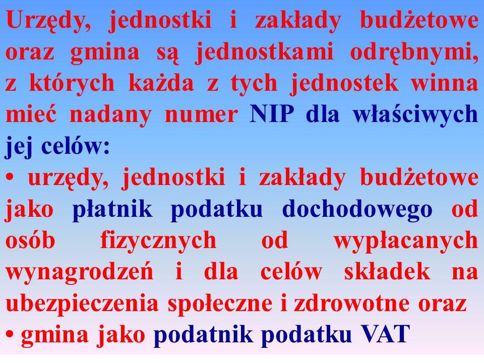Urzędy, jednostki i zakłady budżetowe oraz gmina są jednostkami odrębnymi, z których każda z tych jednostek winna mieć nadany numer NIP dla właściwych