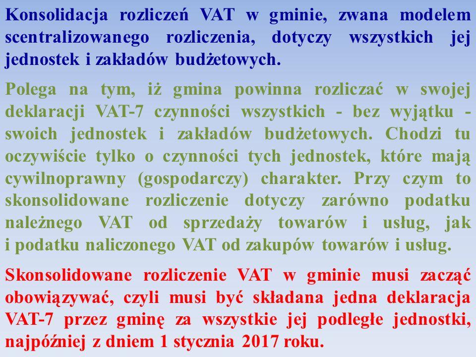 Konsolidacja rozliczeń VAT w gminie, zwana modelem scentralizowanego rozliczenia, dotyczy wszystkich jej jednostek i zakładów budżetowych. Polega na t