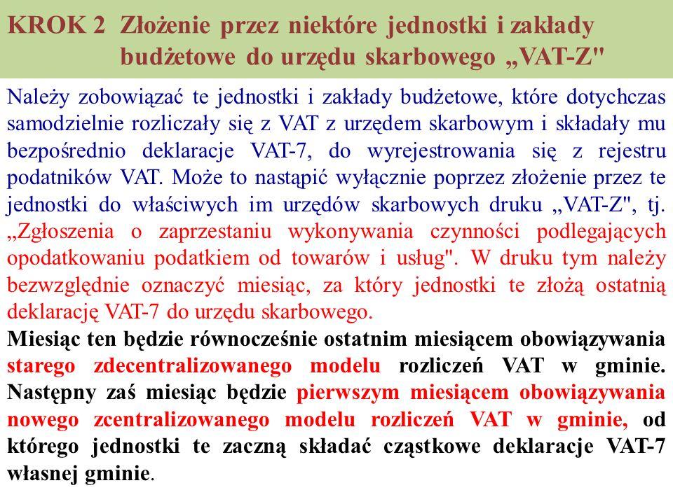 """KROK 2 Złożenie przez niektóre jednostki i zakłady budżetowe do urzędu skarbowego """"VAT-Z"""