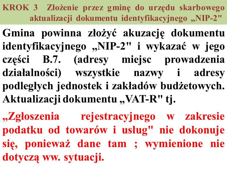 """KROK 3 Złożenie przez gminę do urzędu skarbowego aktualizacji dokumentu identyfikacyjnego """"NIP-2"""