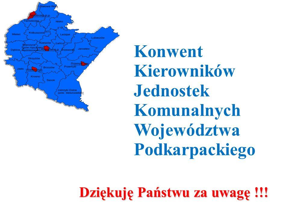 Dziękuję Państwu za uwagę !!! Konwent Kierowników Jednostek Komunalnych Województwa Podkarpackiego