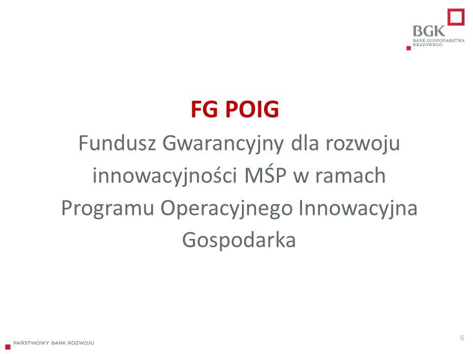 FG POIG Fundusz Gwarancyjny dla rozwoju innowacyjności MŚP w ramach Programu Operacyjnego Innowacyjna Gospodarka 6