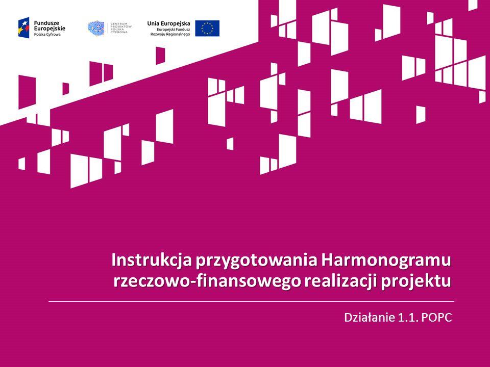 Wzór harmonogramu rzeczowo-finansowego realizacji projektu (Hrf) dostępny jest pod linkiem: https://cppc.gov.pl/programy/popc-2/po-polska-cyfrowa-1-1/nabor- wnioskow-popc-1-1/ Hrf składa się z dwóch arkuszy: a) przedstawiającego planowany przebieg realizacji projektu b) przedstawiającego planowane płatności 2