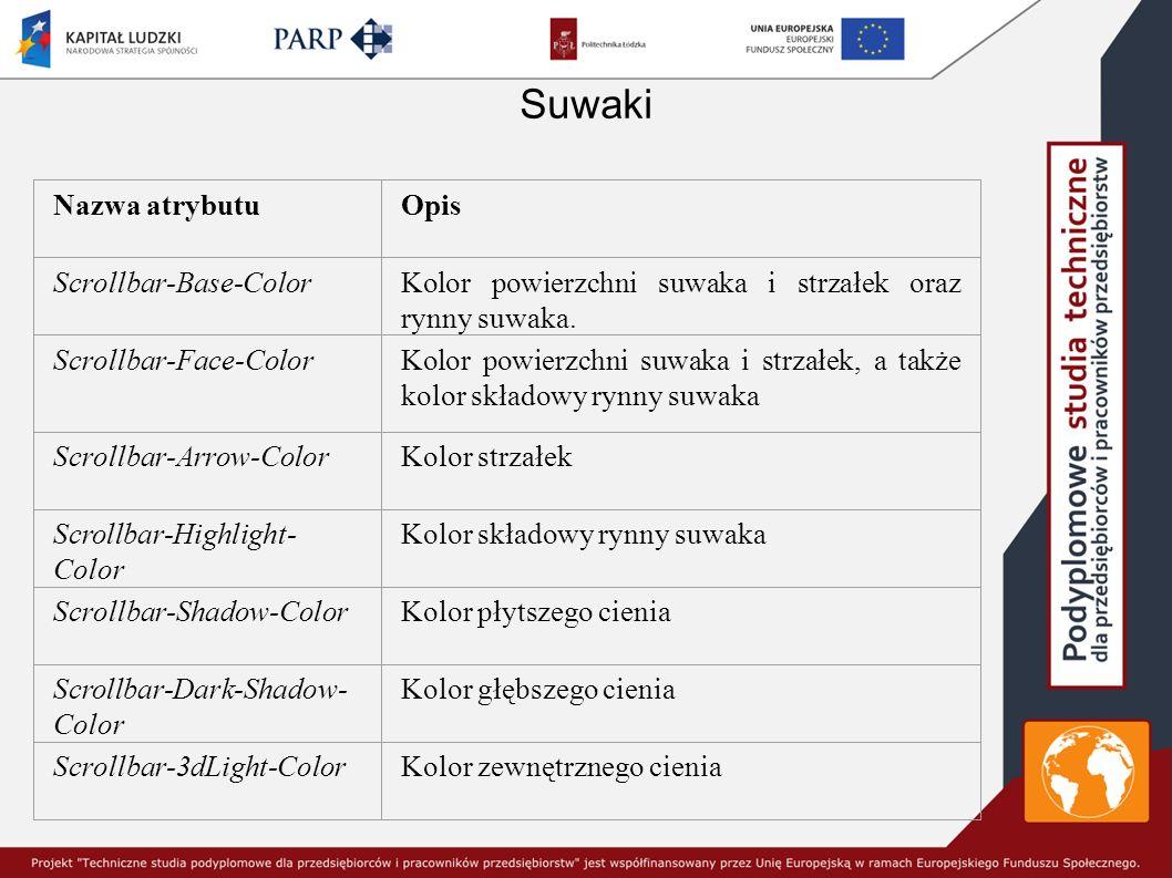 Suwaki Nazwa atrybutuOpis Scrollbar-Base-ColorKolor powierzchni suwaka i strzałek oraz rynny suwaka.