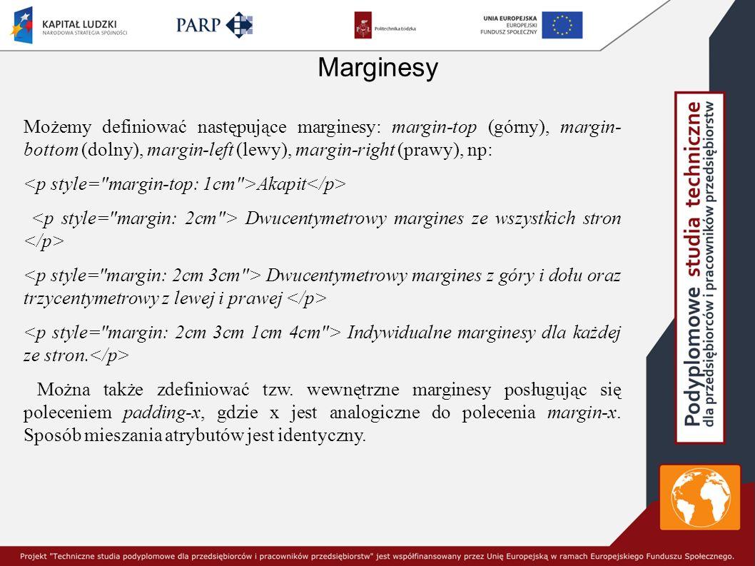 Marginesy Możemy definiować następujące marginesy: margin-top (górny), margin- bottom (dolny), margin-left (lewy), margin-right (prawy), np: Akapit Dw