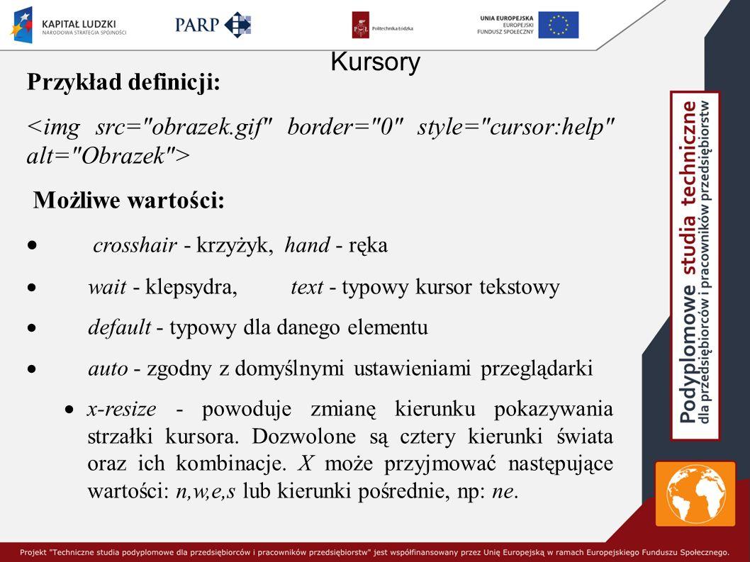 Kursory Przykład definicji: Możliwe wartości:  crosshair - krzyżyk, hand - ręka  wait - klepsydra, text - typowy kursor tekstowy  default - typowy