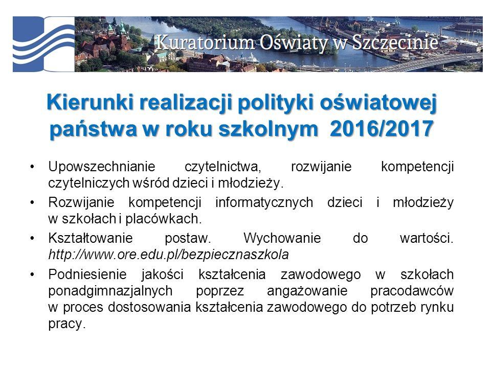 Kierunki realizacji polityki oświatowej państwa w roku szkolnym 2016/2017 Upowszechnianie czytelnictwa, rozwijanie kompetencji czytelniczych wśród dzi