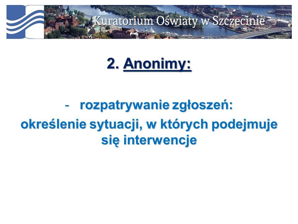 2. Anonimy: -rozpatrywanie zgłoszeń: określenie sytuacji, w których podejmuje się interwencje