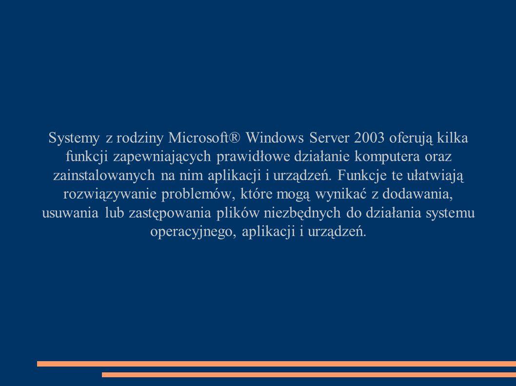 Systemy z rodziny Microsoft® Windows Server 2003 oferują kilka funkcji zapewniających prawidłowe działanie komputera oraz zainstalowanych na nim aplikacji i urządzeń.