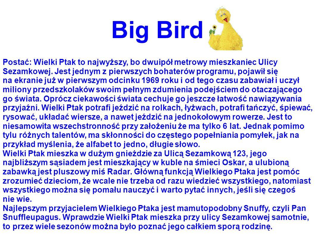 Big Bird Postać: Wielki Ptak to najwyższy, bo dwuipół metrowy mieszkaniec Ulicy Sezamkowej. Jest jednym z pierwszych bohaterów programu, pojawił się n