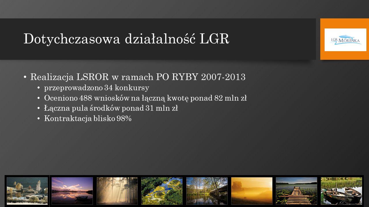 Dotychczasowa działalność LGR Realizacja LSROR w ramach PO RYBY 2007-2013 przeprowadzono 34 konkursy Oceniono 488 wniosków na łączną kwotę ponad 82 mln zł Łączna pula środków ponad 31 mln zł Kontraktacja blisko 98%