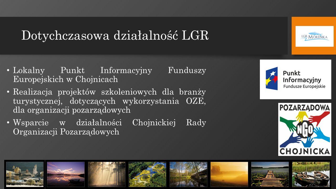 Dotychczasowa działalność LGR Lokalny Punkt Informacyjny Funduszy Europejskich w Chojnicach Realizacja projektów szkoleniowych dla branży turystycznej