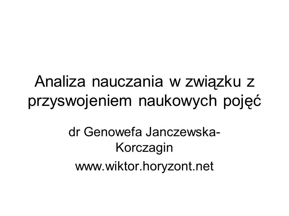 Analiza nauczania w związku z przyswojeniem naukowych pojęć dr Genowefa Janczewska- Korczagin www.wiktor.horyzont.net