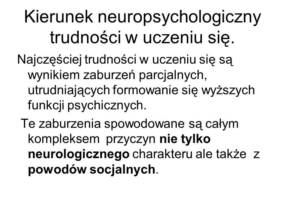 Kierunek neuropsychologiczny trudności w uczeniu się.