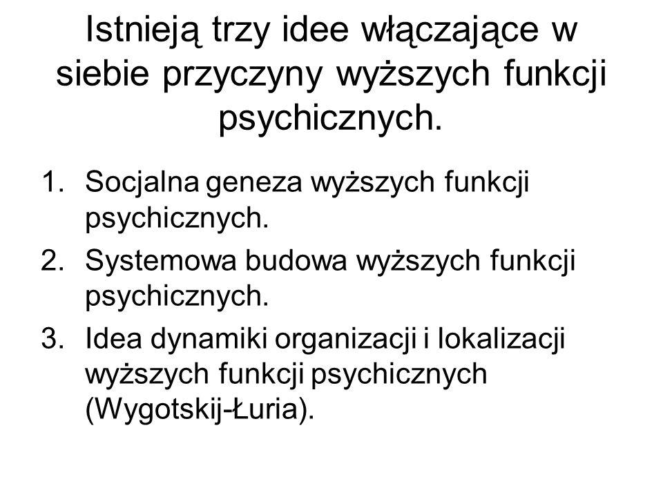 Istnieją trzy idee włączające w siebie przyczyny wyższych funkcji psychicznych.