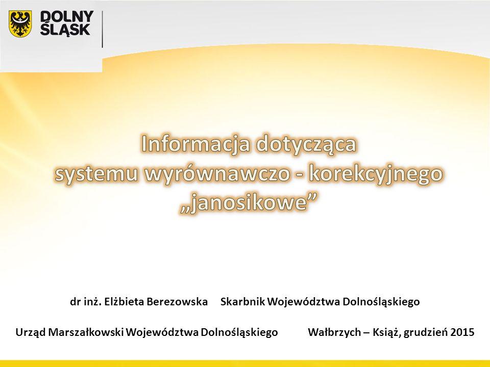 Urząd Marszałkowski Województwa Dolnośląskiego Wałbrzych – Książ, grudzień 2015 dr inż. Elżbieta Berezowska Skarbnik Województwa Dolnośląskiego