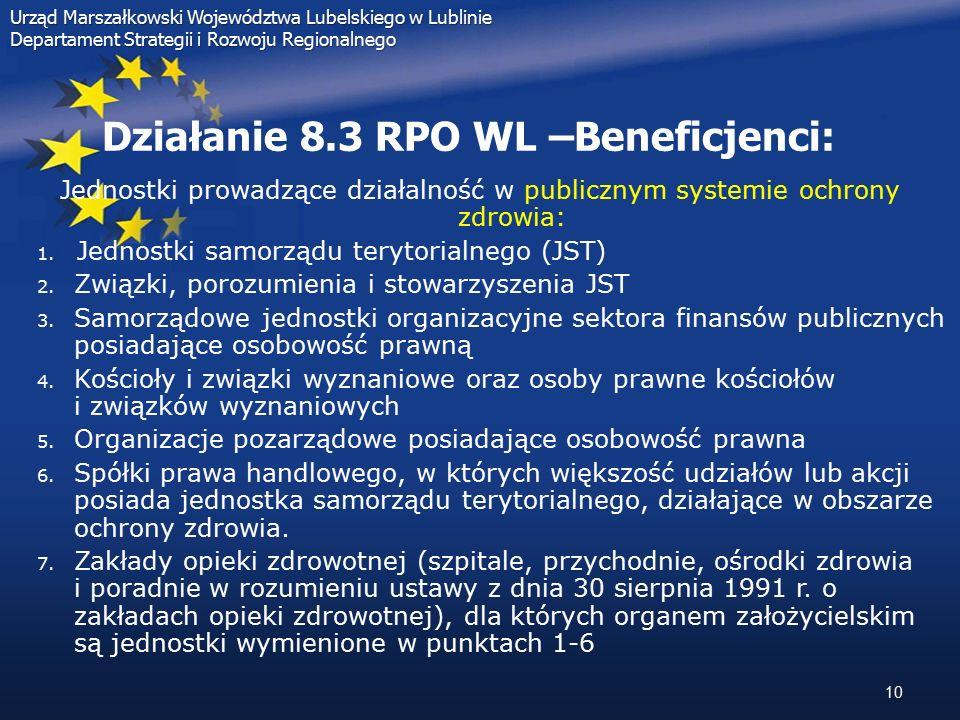 10 Urząd Marszałkowski Województwa Lubelskiego w Lublinie Departament Strategii i Rozwoju Regionalnego Działanie 8.3 RPO WL –Beneficjenci: Jednostki p