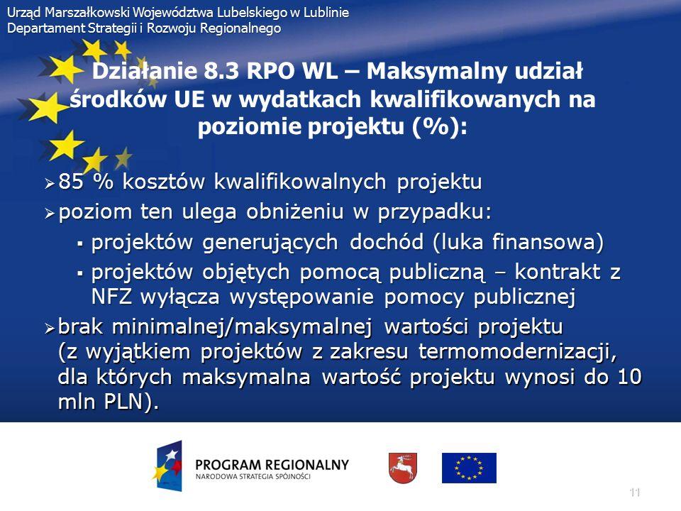 11 Urząd Marszałkowski Województwa Lubelskiego w Lublinie Departament Strategii i Rozwoju Regionalnego Działanie 8.3 RPO WL – Maksymalny udział środkó