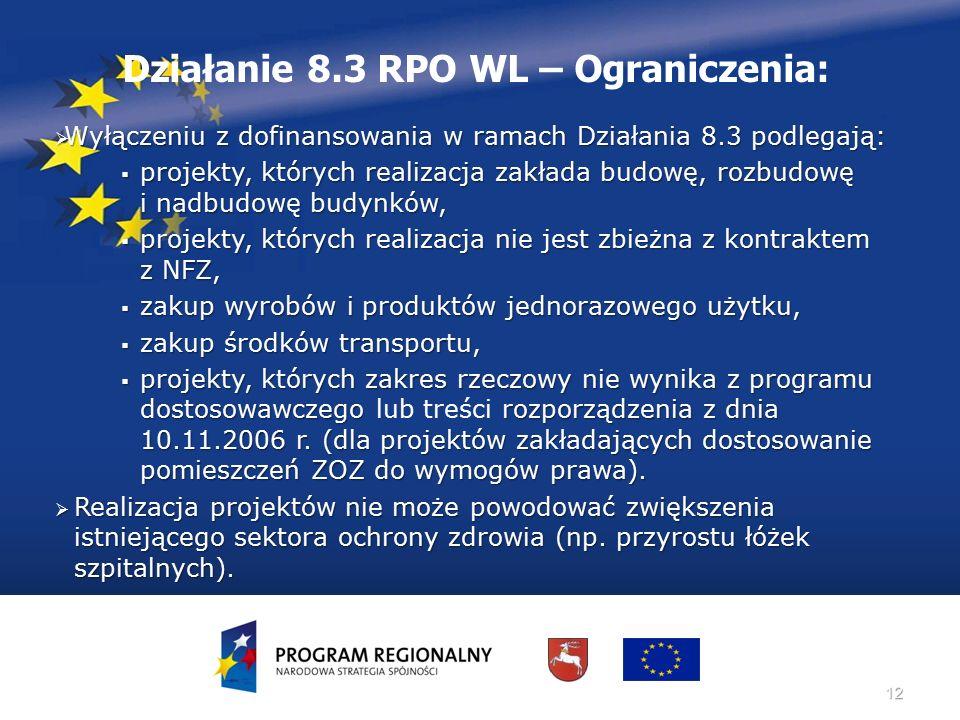 12 Działanie 8.3 RPO WL – Ograniczenia:  Wyłączeniu z dofinansowania w ramach Działania 8.3 podlegają:  projekty, których realizacja zakłada budowę,