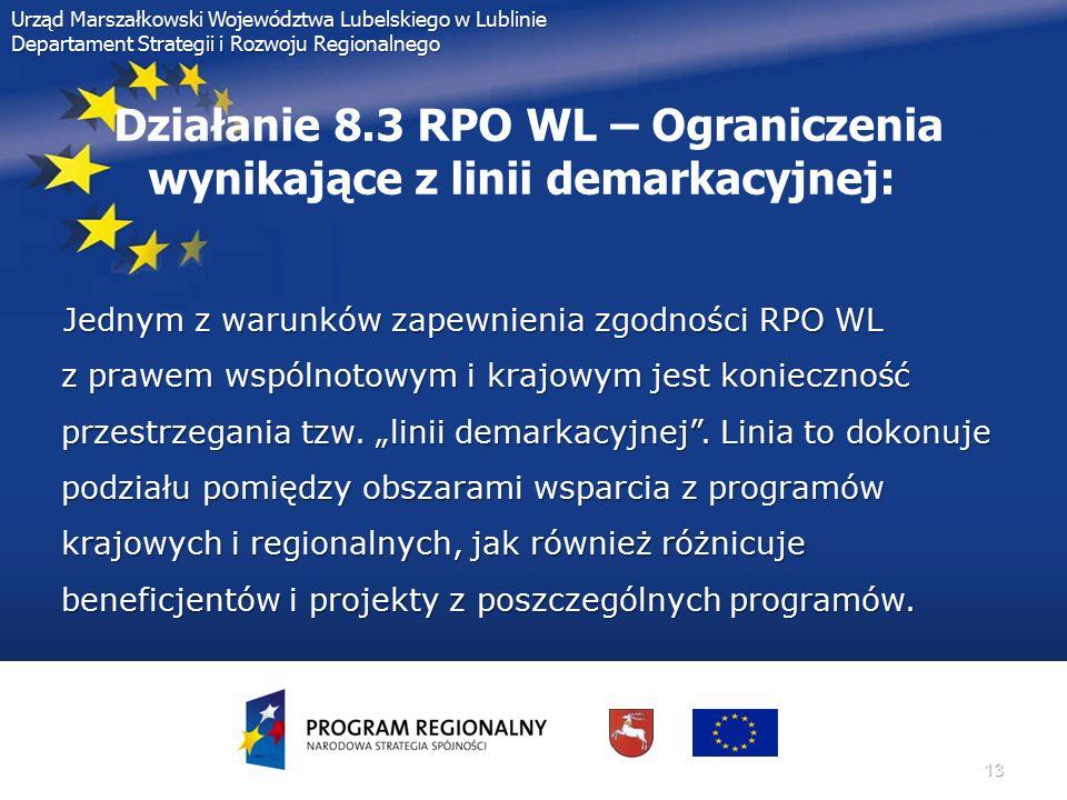 13 Urząd Marszałkowski Województwa Lubelskiego w Lublinie Departament Strategii i Rozwoju Regionalnego Działanie 8.3 RPO WL – Ograniczenia wynikające