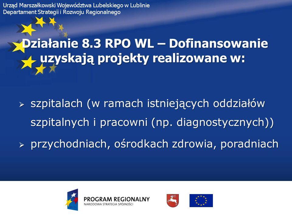 8 Urząd Marszałkowski Województwa Lubelskiego w Lublinie Departament Strategii i Rozwoju Regionalnego Działanie 8.3 RPO WL –Typy projektów możliwe do realizacji przez szpitale: 1.