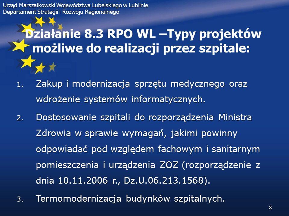 19 Działanie 8.3 RPO WL – Podsumowanie pierwszego naboru:  Konkurs nr 09/RPOWL/8.3/2008, Typ projektów: Ochrona zdrowia - projekty realizowane przez szpitale - dostosowanie szpitali do rozporządzenia Ministra Zdrowia w sprawie wymagań, jakim powinny odpowiadać pod względem fachowym i sanitarnym pomieszczenia i urządzenia ZOZ:  alokacja na konkurs: 28 372 883,18 PLN  ilość złożonych wniosków: 18  wartość całkowita projektów złożonych w ramach konkursu: 79 536 393,90 PLN  wartość całkowita wnioskowanego dofinansowania projektów w ramach konkursu: 66 741 195,70 PLN