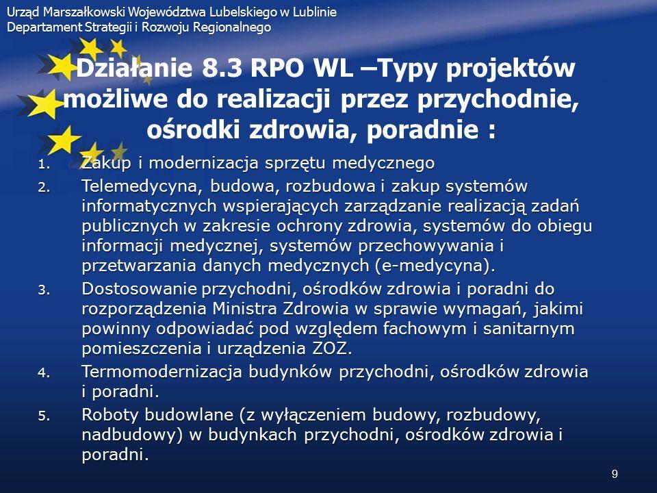 """Urząd Marszałkowski Województwa Lubelskiego w Lublinie Departament Strategii i Rozwoju Regionalnego Pozostałe możliwości pozyskiwania środków przez ZOZ w ramach RPO WL 2007- 2013: Pozostałe możliwości pozyskiwania środków przez ZOZ w ramach RPO WL 2007- 2013: Działanie 6.2 RPO WL """"Energia przyjazna środowisku :  Projekty z zakresu modernizacji kotłowni opalanych paliwem stałym na zasilane paliwem ekologicznym  Pierwszy nabór wniosków: sierpień 2008"""