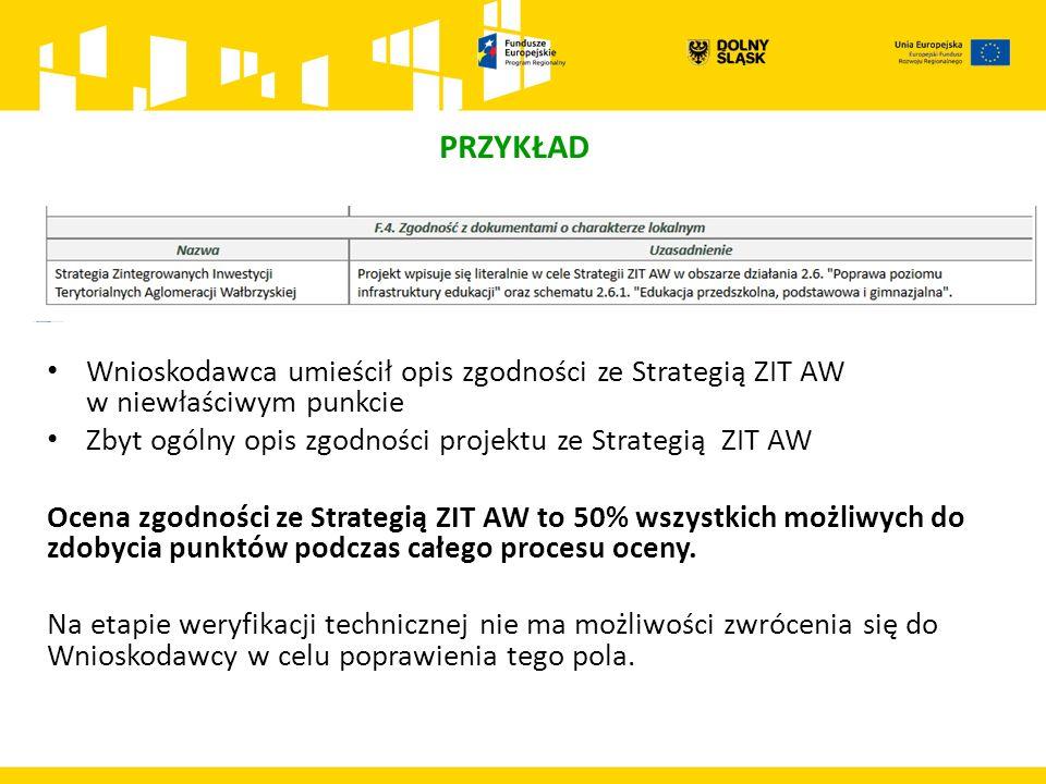 PRZYKŁAD Wnioskodawca umieścił opis zgodności ze Strategią ZIT AW w niewłaściwym punkcie Zbyt ogólny opis zgodności projektu ze Strategią ZIT AW Ocena zgodności ze Strategią ZIT AW to 50% wszystkich możliwych do zdobycia punktów podczas całego procesu oceny.
