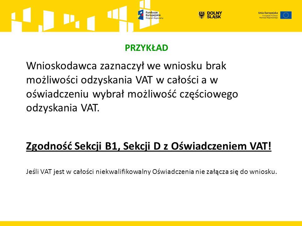 PRZYKŁAD Wnioskodawca zaznaczył we wniosku brak możliwości odzyskania VAT w całości a w oświadczeniu wybrał możliwość częściowego odzyskania VAT.