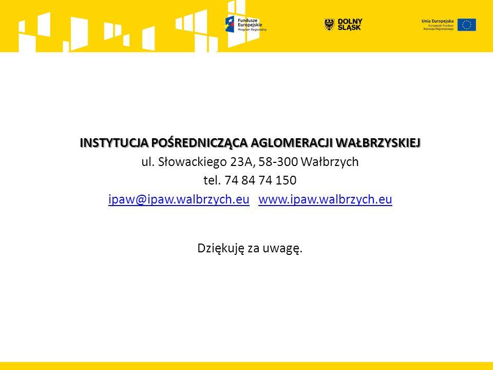 INSTYTUCJA POŚREDNICZĄCA AGLOMERACJI WAŁBRZYSKIEJ INSTYTUCJA POŚREDNICZĄCA AGLOMERACJI WAŁBRZYSKIEJ ul. Słowackiego 23A, 58-300 Wałbrzych tel. 74 84 7