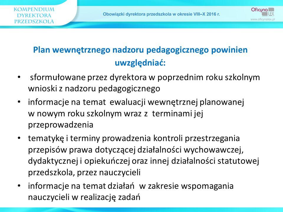 sformułowane przez dyrektora w poprzednim roku szkolnym wnioski z nadzoru pedagogicznego informacje na temat ewaluacji wewnętrznej planowanej w nowym