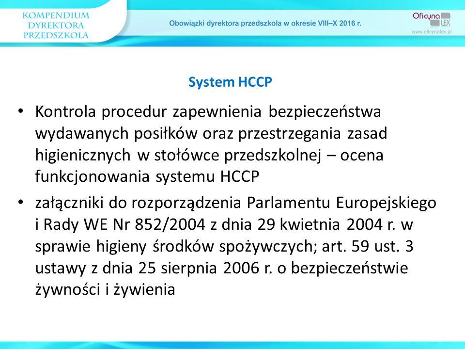 Kontrola procedur zapewnienia bezpieczeństwa wydawanych posiłków oraz przestrzegania zasad higienicznych w stołówce przedszkolnej – ocena funkcjonowania systemu HCCP załączniki do rozporządzenia Parlamentu Europejskiego i Rady WE Nr 852/2004 z dnia 29 kwietnia 2004 r.