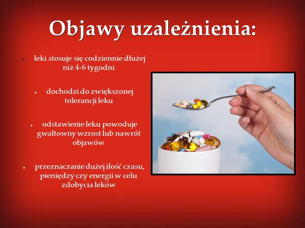 Objawy uzależnienia: ● leki stosuje się codziennie dłużej niż 4-6 tygodni ● dochodzi do zwiększonej tolerancji leku ● odstawienie leku powoduje gwałto