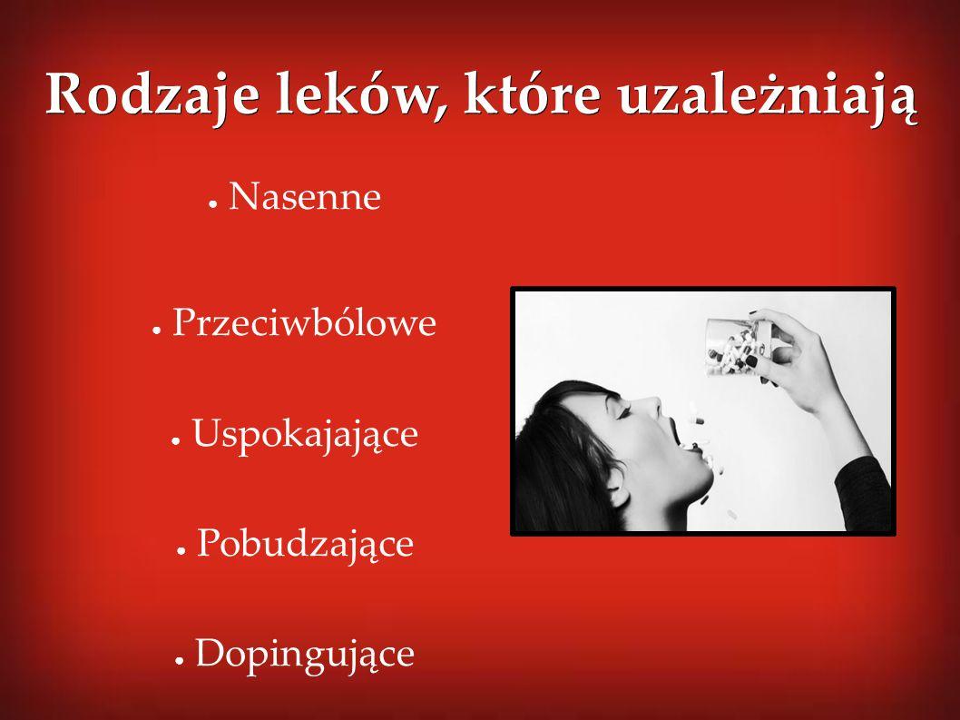 Rodzaje leków, które uzależniają ● Nasenne ● Przeciwbólowe ● Uspokajające ● Pobudzające ● Dopingujące