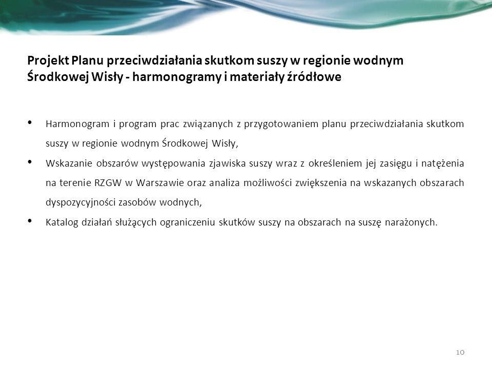 Projekt Planu przeciwdziałania skutkom suszy w regionie wodnym Środkowej Wisły - harmonogramy i materiały źródłowe Harmonogram i program prac związanych z przygotowaniem planu przeciwdziałania skutkom suszy w regionie wodnym Środkowej Wisły, Wskazanie obszarów występowania zjawiska suszy wraz z określeniem jej zasięgu i natężenia na terenie RZGW w Warszawie oraz analiza możliwości zwiększenia na wskazanych obszarach dyspozycyjności zasobów wodnych, Katalog działań służących ograniczeniu skutków suszy na obszarach na suszę narażonych.