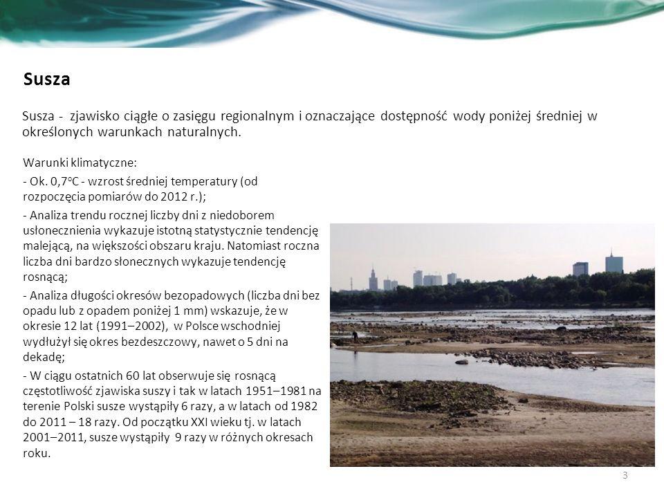 Projekt Planu przeciwdziałania skutkom suszy w regionie wodnym Środkowej Wisły - treść opis zidentyfikowanych grup użytkowników w obszarach zagrożonych suszą, możliwych konfliktów spowodowanych suszą pomiędzy poszczególnymi sektorami gospodarki, społeczeństwem i środowiskiem, zidentyfikowanych działań w celu zażegnania możliwych konfliktów; podsumowanie katalogu działań z podziałem m.in.