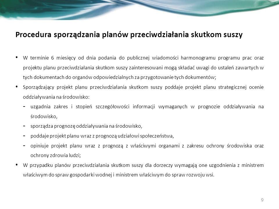 Procedura sporządzania planów przeciwdziałania skutkom suszy W terminie 6 miesięcy od dnia podania do publicznej wiadomości harmonogramu programu prac oraz projektu planu przeciwdziałania skutkom suszy zainteresowani mogą składać uwagi do ustaleń zawartych w tych dokumentach do organów odpowiedzialnych za przygotowanie tych dokumentów; Sporządzający projekt planu przeciwdziałania skutkom suszy poddaje projekt planu strategicznej ocenie oddziaływania na środowisko: - uzgadnia zakres i stopień szczegółowości informacji wymaganych w prognozie oddziaływania na środowisko, - sporządza prognozę oddziaływania na środowisko, - poddaje projekt planu wraz z prognozą udziałowi społeczeństwa, - opiniuje projekt planu wraz z prognozą z właściwymi organami z zakresu ochrony środowiska oraz ochrony zdrowia ludzi; W przypadku planów przeciwdziałania skutkom suszy dla dorzeczy wymagają one uzgodnienia z ministrem właściwym do spraw gospodarki wodnej i ministrem właściwym do spraw rozwoju wsi.