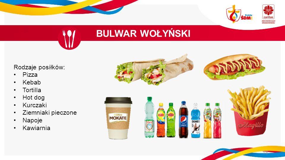 BULWAR WOŁYŃSKI 18 Rodzaje posiłków: Pizza Kebab Tortilla Hot dog Kurczaki Ziemniaki pieczone Napoje Kawiarnia