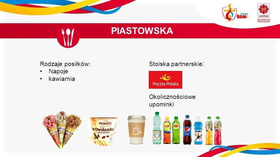 PIASTOWSKA 26 Rodzaje posiłków: Napoje kawiarnia Stoiska partnerskie : Okolicznościowe upominki