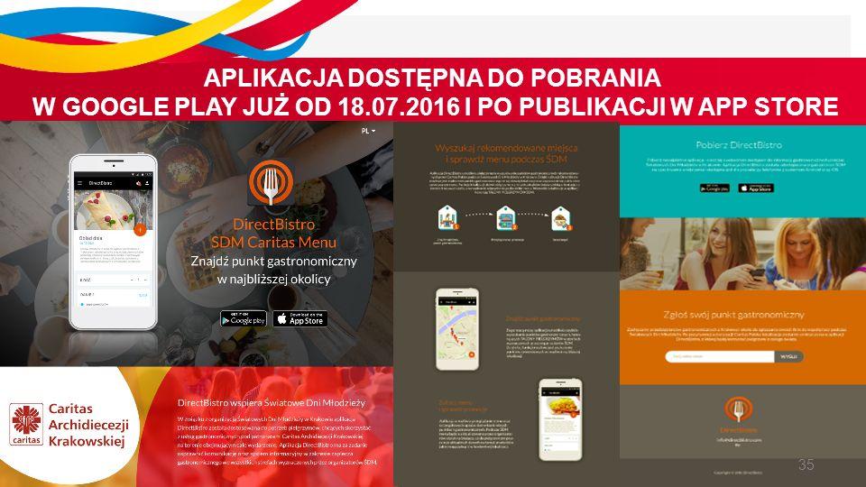 APLIKACJA DOSTĘPNA DO POBRANIA W GOOGLE PLAY JUŻ OD 18.07.2016 I PO PUBLIKACJI W APP STORE 35
