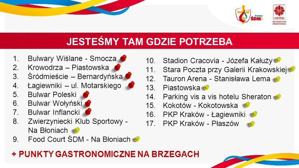 1.Bulwary Wiślane - Smocza 2.Krowodrza – Piastowska 3.Śródmieście – Bernardyńska 4.Łagiewniki – ul.