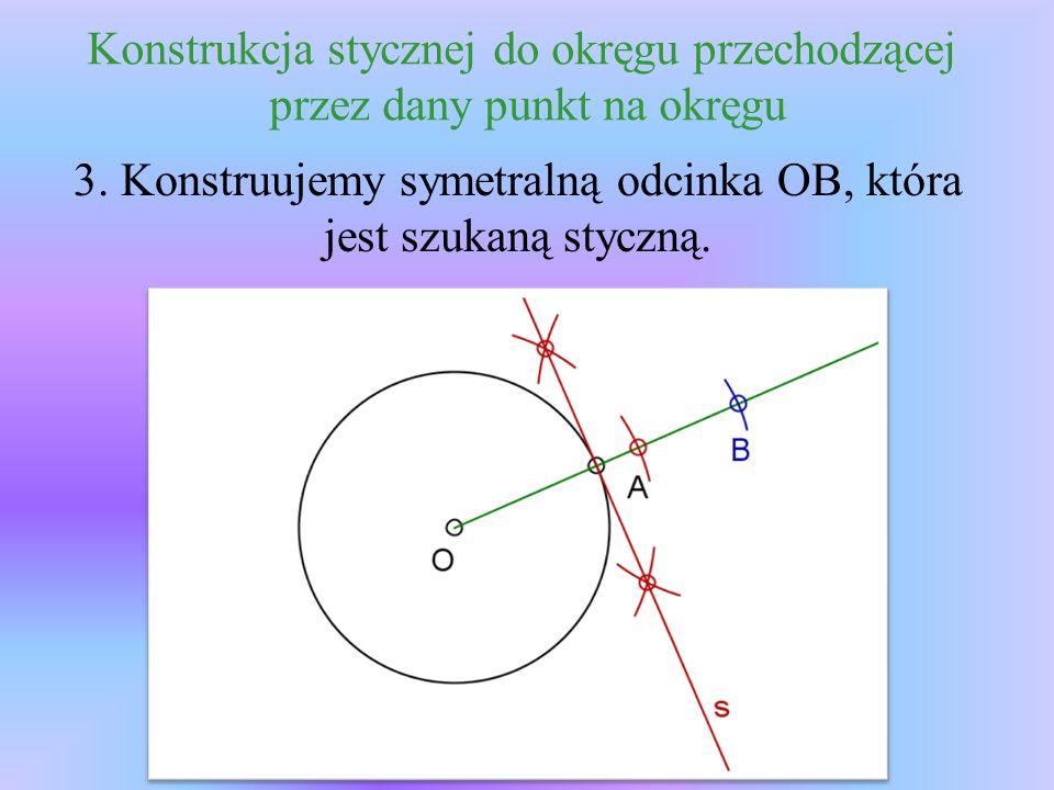 Konstrukcja stycznej do okręgu przechodzącej przez dany punkt na okręgu 3.