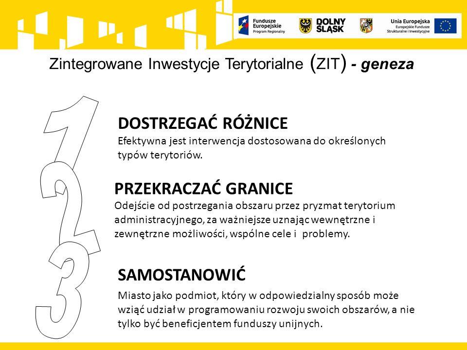 Zintegrowane Inwestycje Terytorialne ( ZIT ) - cele Zwiększanie efektywności podejmowanych interwencji poprzez realizację odpowiadających w sposób kompleksowy na potrzeby miast i powiązanych z nimi funkcjonalnie obszarów Promowanie partnerskiego modelu współpracy różnych jednostek administracyjnych na miejskich obszarach funkcjonalnych Zwiększanie wpływu miast i obszarów z nimi powiązanych na kształt i sposób realizacji działań wspieranych na ich obszarze w ramach polityki spójności