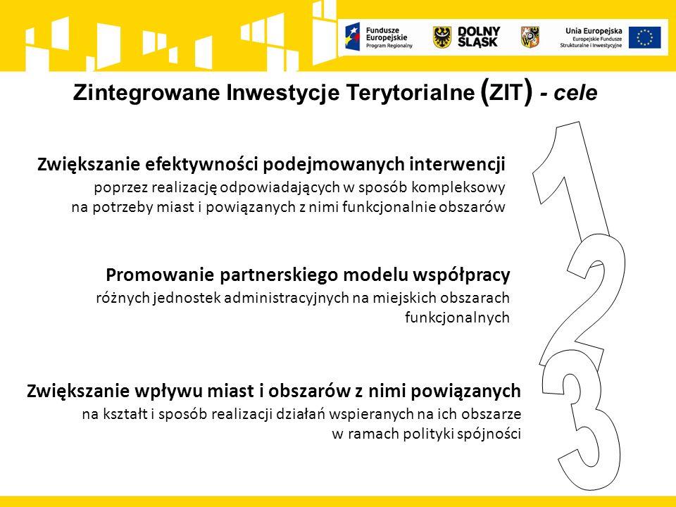 Zintegrowane Inwestycje Terytorialne ( ZIT ) - cele Zwiększanie efektywności podejmowanych interwencji poprzez realizację odpowiadających w sposób kom